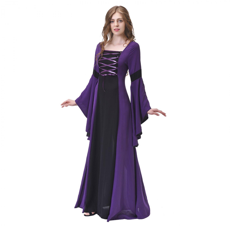 Lady Dress Vintage Medieval Victorian Dress Deep purple ...