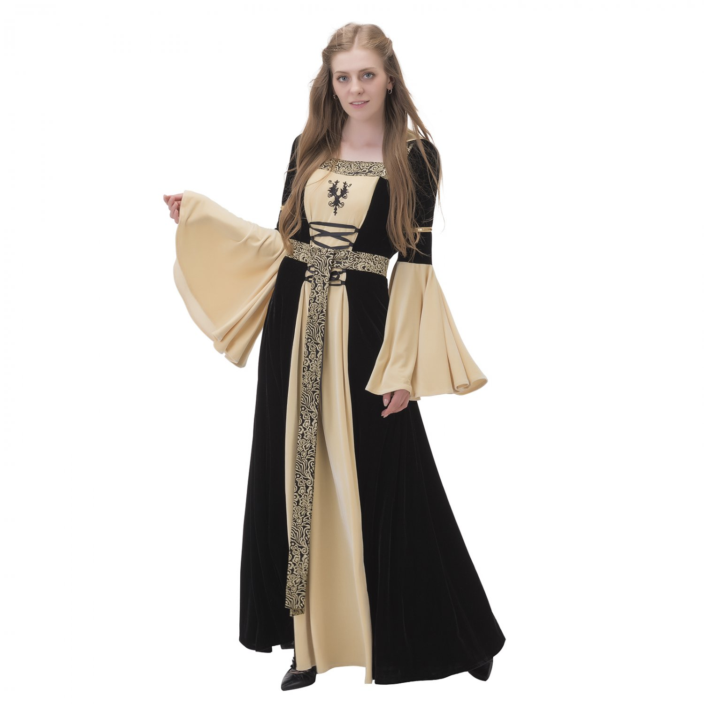 Cosplaydiy Victorian hooded dress black and yellow women's ...