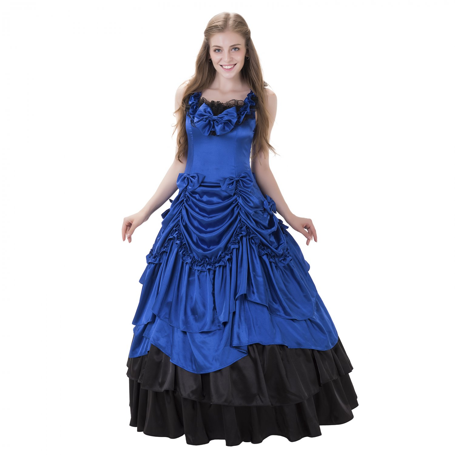 Cosplaydiy Medieval Dress Women's Evening Dress For Party Sapphire Blue Costume