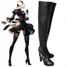Game NieR Automata 2B YoRHa No. 2 Cosplay Shoes Leather Boots Black Cosplay Shoes