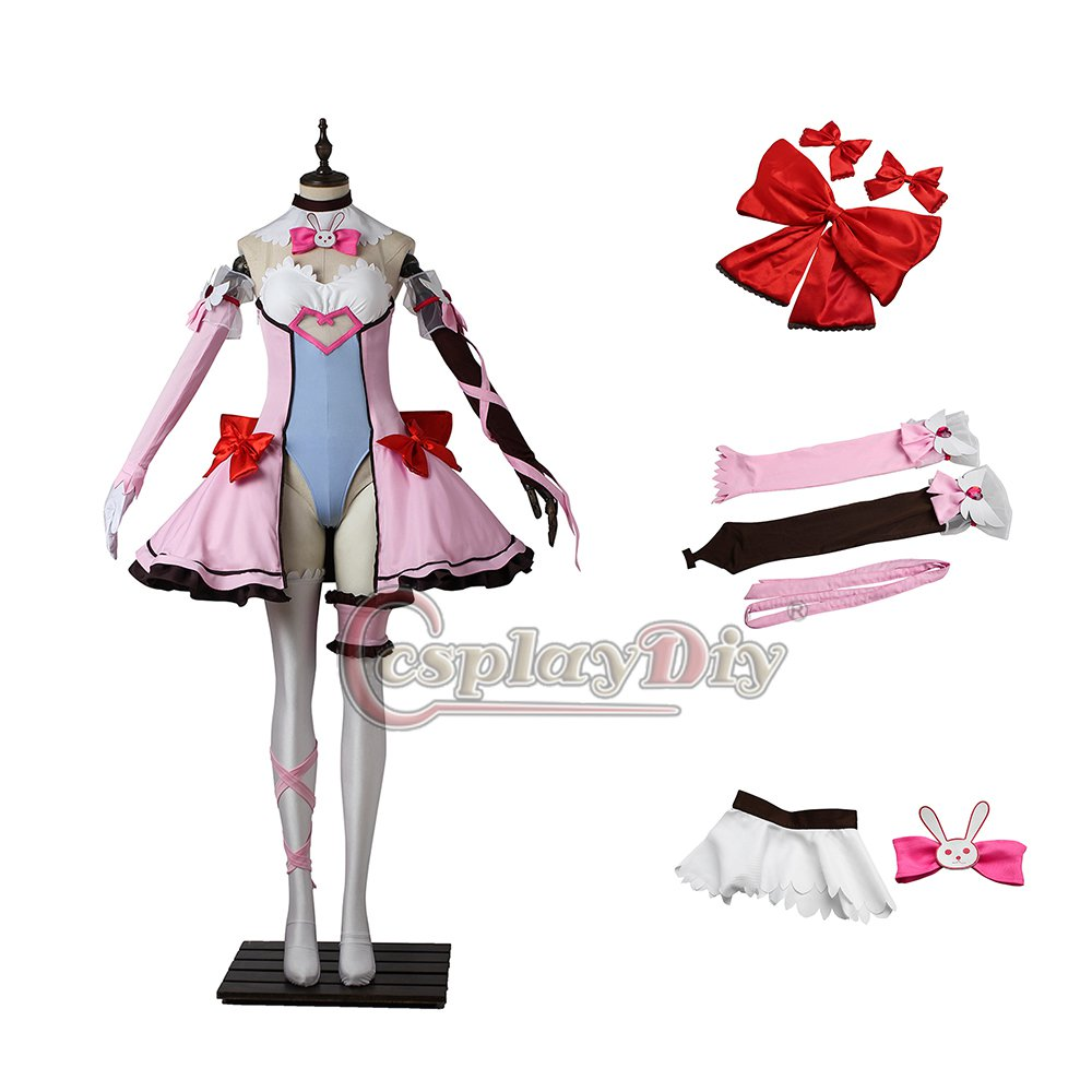 2017 Game Overwatch Hana Song OW D.va Cosplay Costume Pink Dress