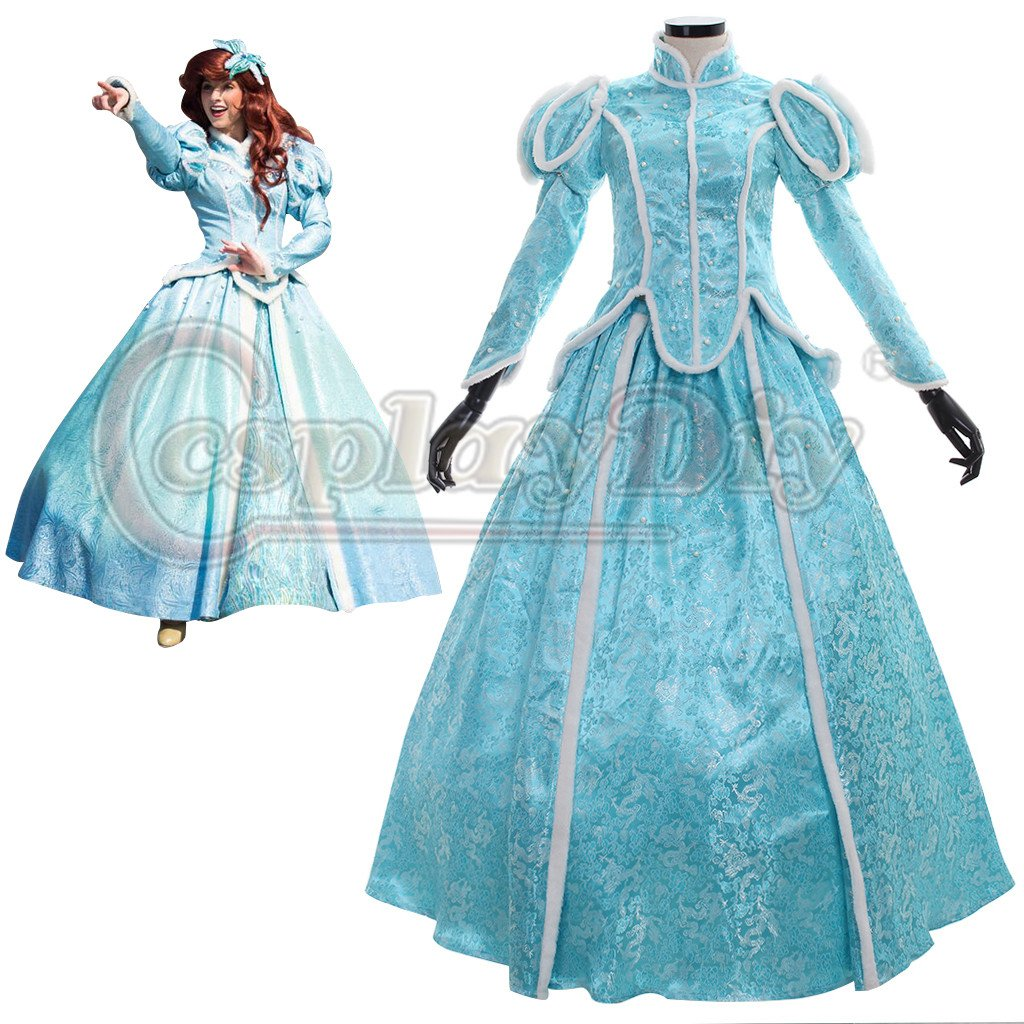The Little Mermaid Princess Ariel Blue Dress Custom Made Women's Dress Cosplay Costume For Party