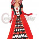Alice in Wonderland Deluxe Queen of Hearts Costume Women Halloween Party Cosplay Dress