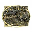Kansas Heritage Mint Solid Brass Vintage Belt Buckle