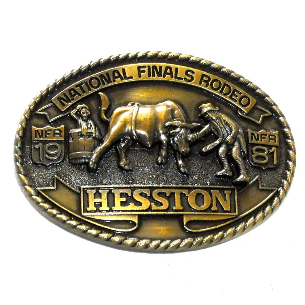 Cowboy Rodeo Clowns NFR Hesston 1981 Brass Belt Buckle