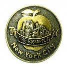 Big Apple New York City Vintage Round Brass Belt Buckle