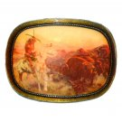 Indian Native Buffalo Hunt Vintage Brass NOS Belt Buckle