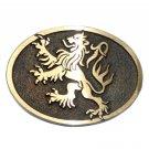 German Lion Crest Hand Casted Sanded Finish Solid Bronze Belt Buckle