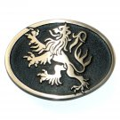 Lion German Crest Hand Casted Satin Finish Solid Bronze Belt Buckle