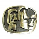 Big Head Vintage Moai Hand Casted Solid Bronze Polished Finish Belt Buckle