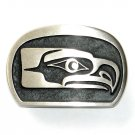 Seahawk Northwest Hand Casted Satin Silver Finish Bronze Belt Buckle