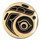 Northwest Coast Native Design Hand Casted Sanded Finish Solid Bronze Round Belt Buckle