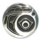 Native Northwest Coast Vintage Design Hand Casted Polished Silver Finish Bronze Round Belt Buckle