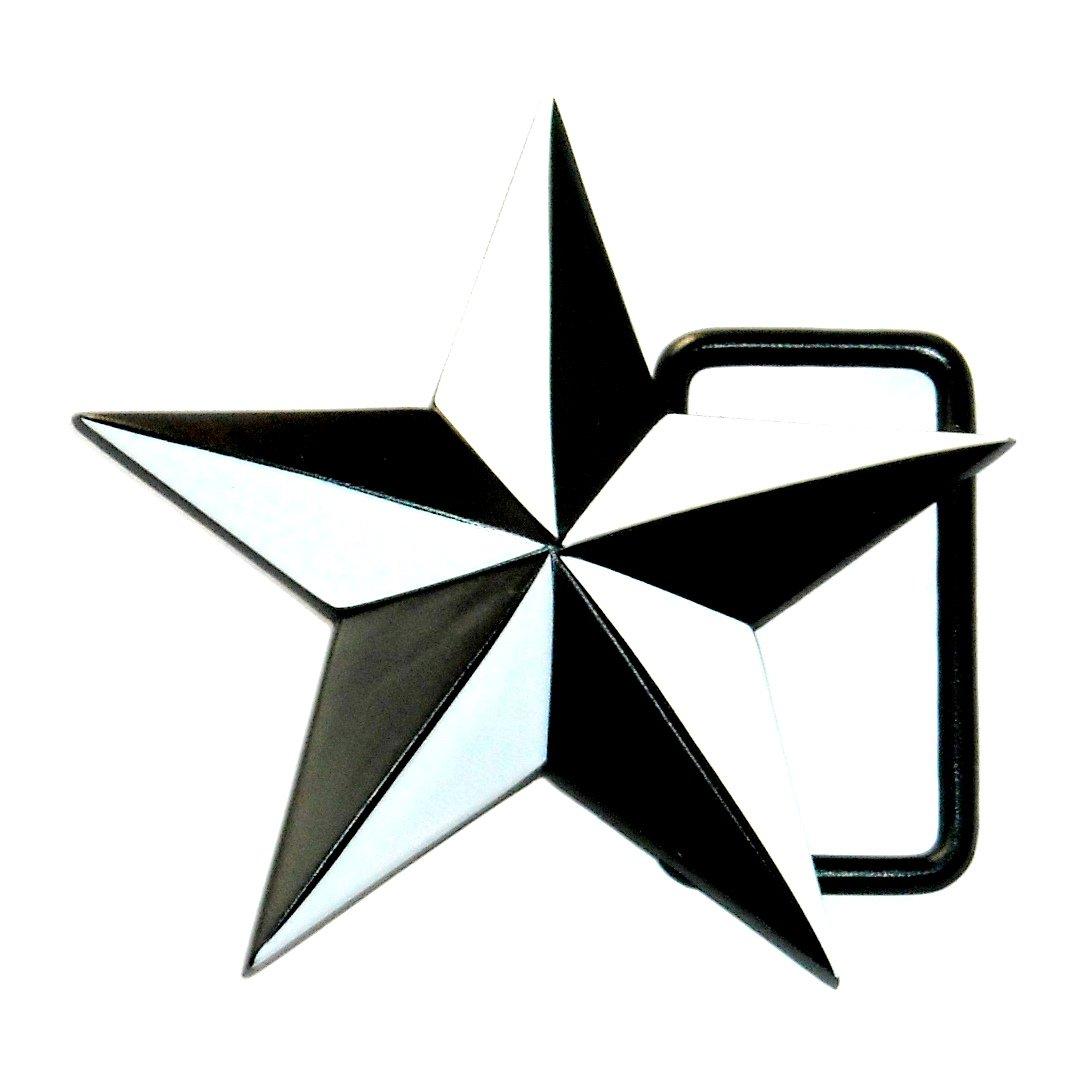 Black White 5 Point Star Fashion Belt Buckle