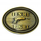 It's My Right Second Amendment Brass Color Belt Buckle