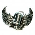 Mic Wings My Microphone Pewter Color Belt Buckle