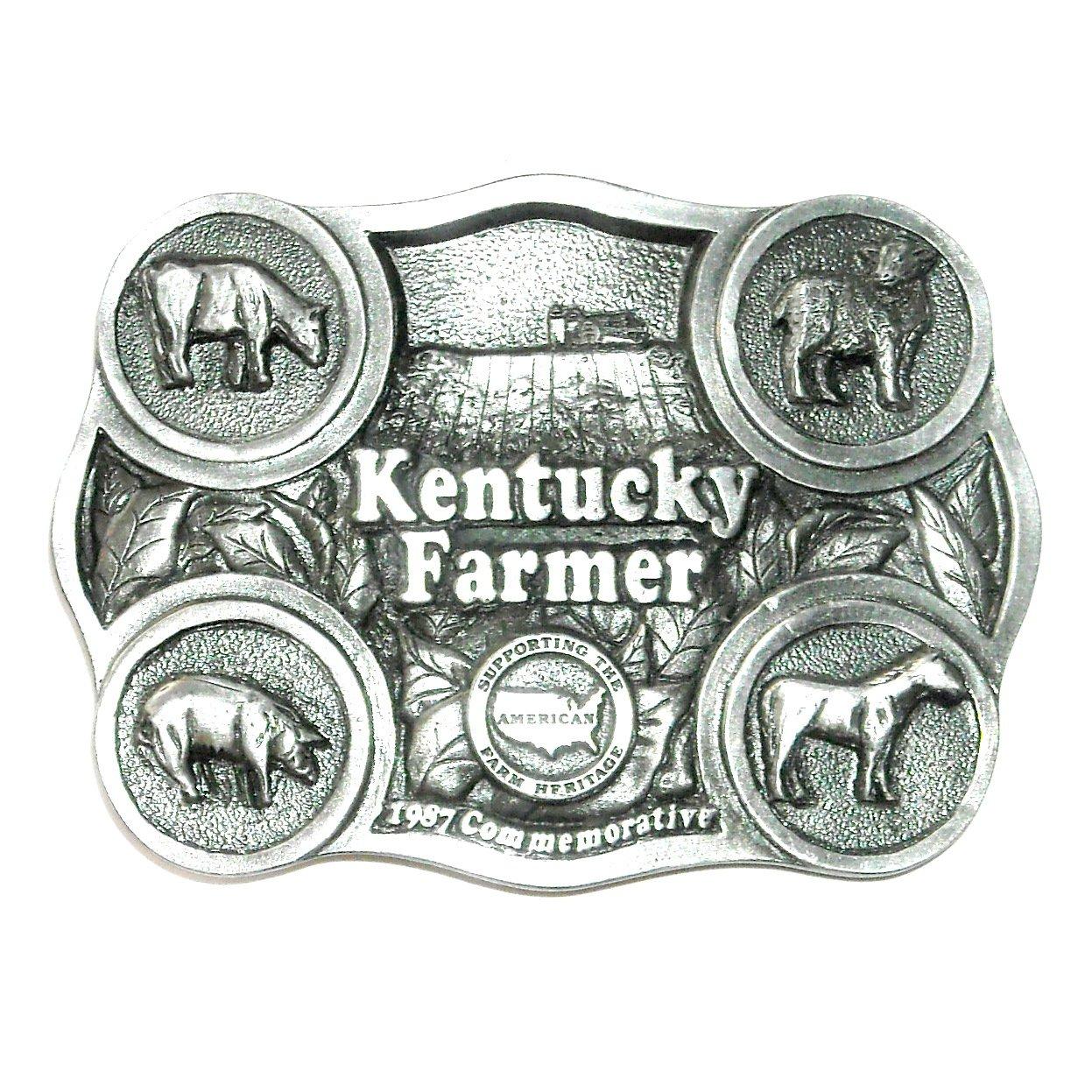 Kentucky Farmer Vintage Bryant Solid Pewter 3D Belt Buckle