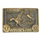 Migratory Bird Hunting Stamp USDA Award Design Brass Belt Buckle