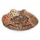Big Sky Country Montana Vintage A J Dezy 3D Copper Belt Buckle