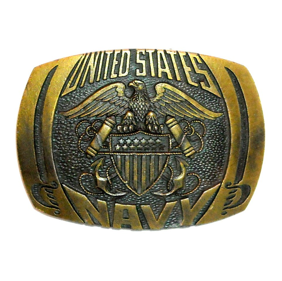 United States Navy Indiana Metal Craft Solid Brass Belt Buckle
