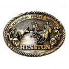Cowboy Calf Roper NFR Hesston 1980 Rodeo Brass NOS Belt Buckle