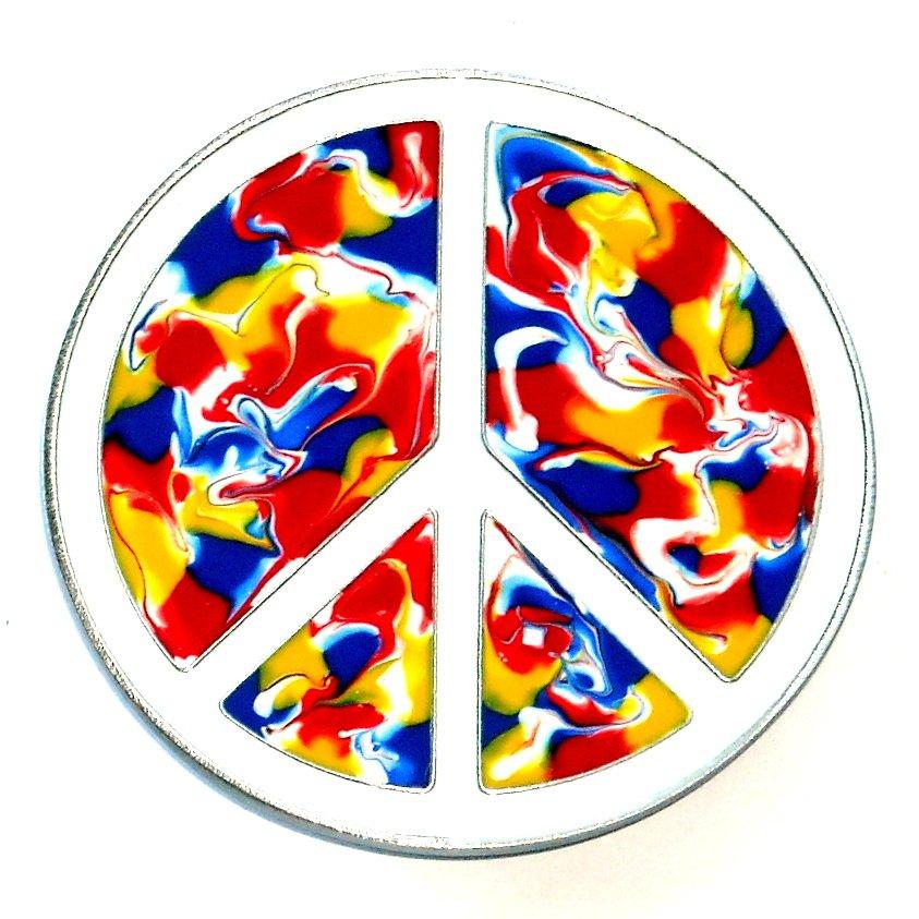 Peace Love Symbol Sign Psychedelic Colors Bergamot Belt Buckle