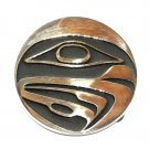 Totem Hawk Northwest Coast Hand Casted Solid Bronze Polished Finish Round Belt Buckle