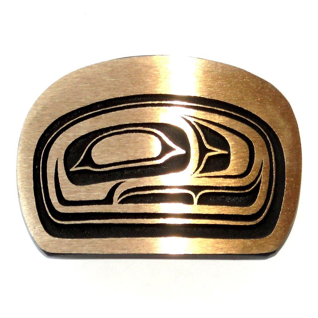 Northwest Totem Salmon Head Hand Casted Sanded Finish Solid Bronze Belt Buckle