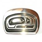 Totem Salmon Head Northwest Coast Hand Casted Solid Bronze Polished Finish Belt Buckle
