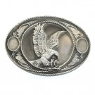 American Eagle Siskiyou Rope Edge Pewter Western Belt Buckle