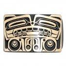 Bear Northwest Totem Hand Casted Sanded Finish Solid Bronze Belt Buckle