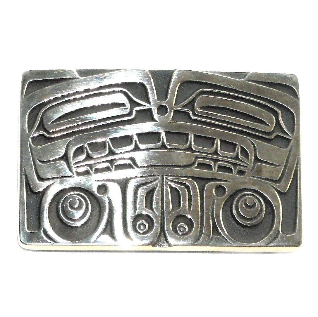 Totem Bear Northwest Coast Hand Casted Solid Bronze Polished Silver Finish Belt Buckle