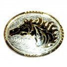 Wild Horse American Stallion Western Gold Silver Color Crumrine Belt Buckle