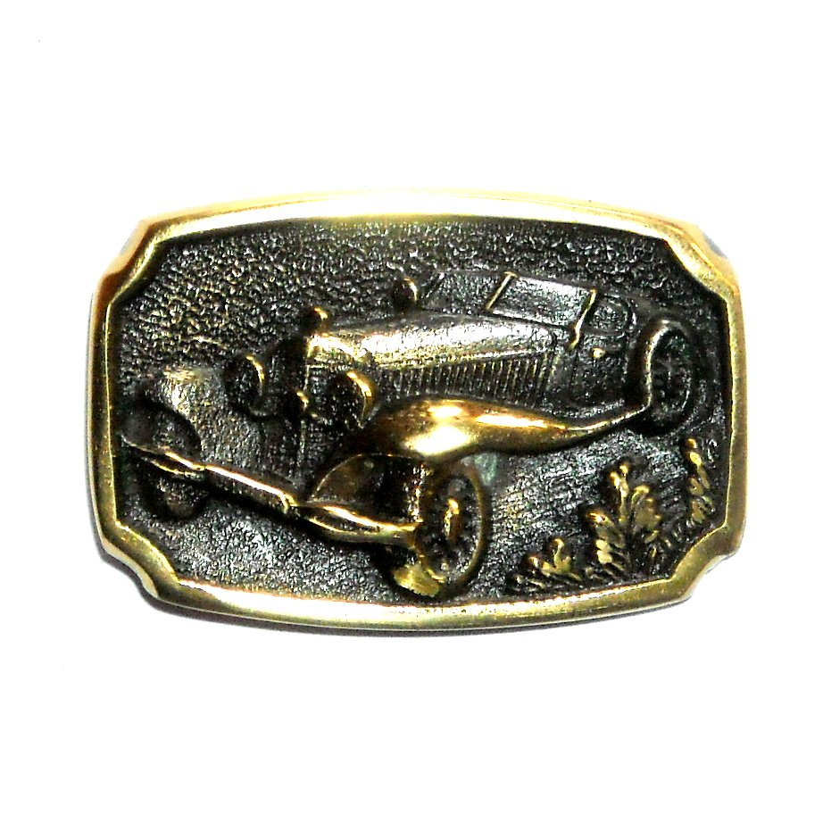 Ford Deluxe Rumble Seat Roadster Solid Brass Small Belt Buckle