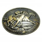 Tony Lama Racing Quarter Horse American Cowboy Limited Edition Brass Belt Buckle