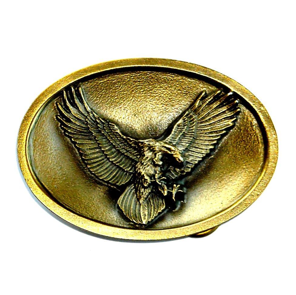 American Flying Eagle Bird USA Bergamot Brass Color Western Belt Buckle