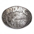 Wyoming State Elk Indiana Metal Craft Solid Pewter Classic Western Belt Buckle