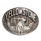YellowStone Bull Elk Indiana Metal Craft Solid Pewter Classic Western Belt Buckle