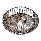 Montana State Bull Elk Indiana Metal Craft Pewter Classic Western Belt Buckle