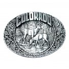 Colorado State Wildlife Elk Indiana Metal Craft Solid Pewter Classic Western Belt Buckle