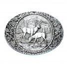 American Wildlife Elk Indiana Metal Craft Solid Pewter Classic Belt Buckle