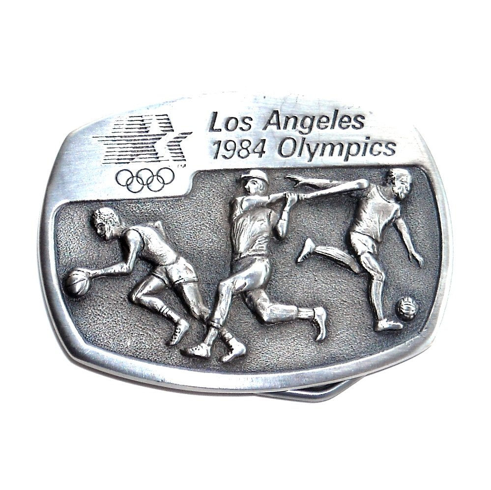 Soccer Baseball Los Angeles 1984 Olympics Sanchez Pewter Belt Buckle