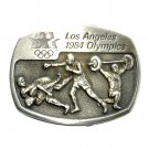 Weightlifting Boxing Los Angeles 1984 Olympics Sanchez Pewter Belt Buckle