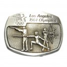 Archery Fencing Los Angeles 1984 Olympics Sanchez Pewter Belt Buckle