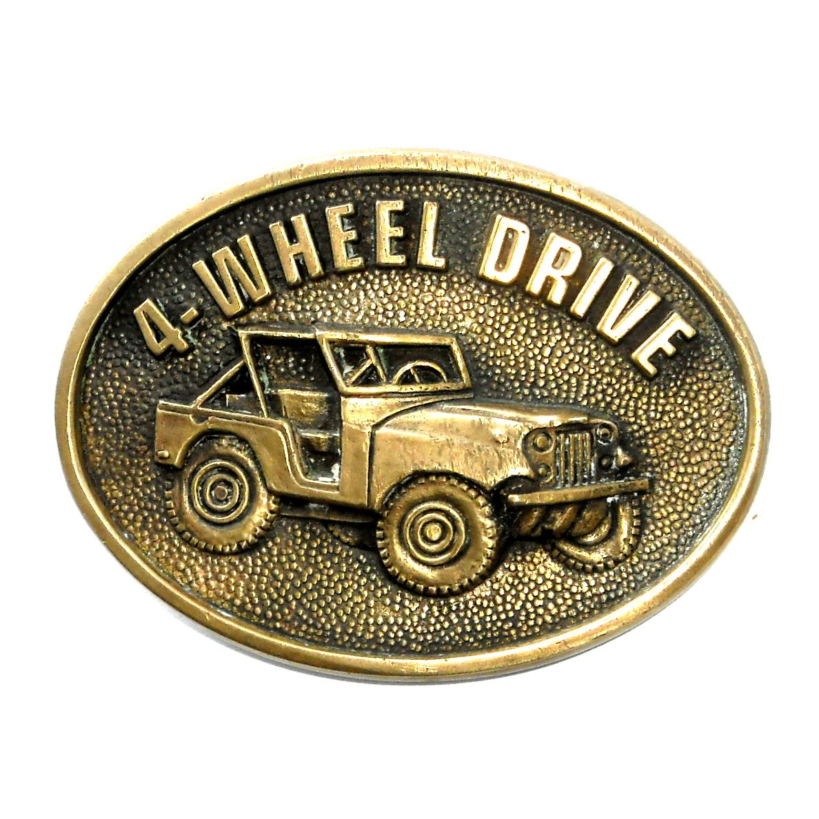 Willys Jeep Four Wheel Drive BTS Brass Vintage Belt Buckle
