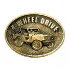 Willys Jeep Four Wheel Drive BTS Brass Vintage Belt Buckle