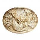 Elk Trophy Vintage Award Design Brass NOS Belt Buckle