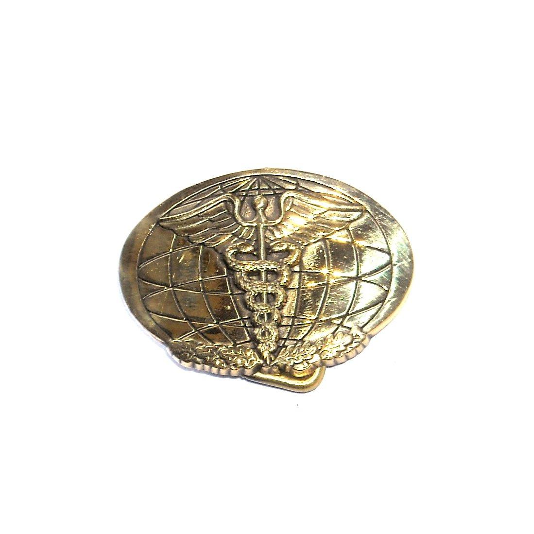 Medical Corps Caduceus Symbol Baron Solid Brass Nos Belt Buckle For