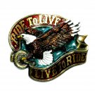 Live To Ride Eagle Vintage Great American Pewter Belt Buckle