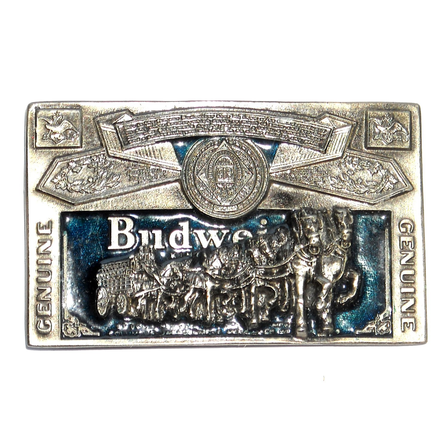Budweiser Blue 3D Great American US Pewter Belt Buckle